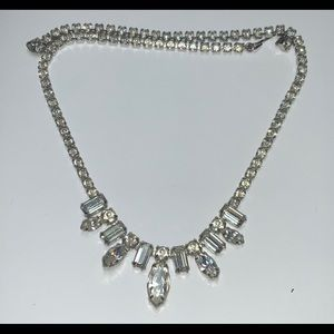 Fancy Clear Chrystal Silver Tone Classic Necklace